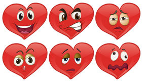 Red hearts with facial expressions Stock Photo