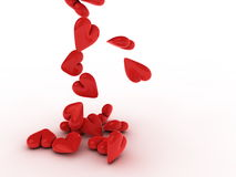 Red hearts falling - background Royalty Free Stock Images