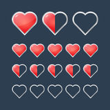 Red hearts with filling rating status icons Royalty Free Stock Photography