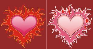 Red hearts in flames. Illustration of two red hearts in flames Royalty Free Stock Photo