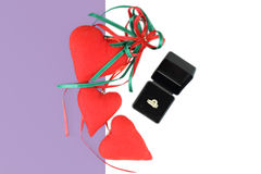 Red hearts flat lay composition Royalty Free Stock Photo