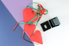 Red hearts flat lay composition Stock Photo