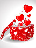 Red hearts floating out of box. 3d illustration of decorative red love hearts floating out of open gift box, white studio background Royalty Free Stock Photography
