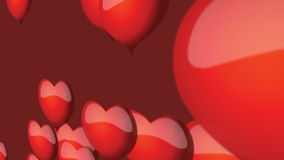 Red hearts floating on red background animation for Valenite's day stock footage