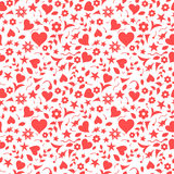 Red hearts and floral doodles pattern. Red hearts and floral doodles seamless pattern Stock Image