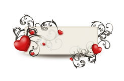 Red hearts and floral ornament Royalty Free Stock Images