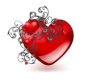 Red hearts and floral ornament Stock Images