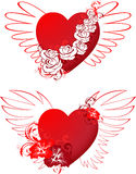 Red hearts with floral ornament and wings Stock Photography
