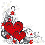 Red hearts on a flower ornament Royalty Free Stock Photos