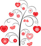Red Hearts Flower Tree. Red Hearts Flower Swirls Tree, White Background Royalty Free Stock Photos