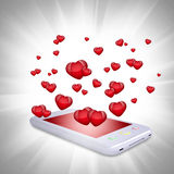 Red hearts fly out of the smartphone Royalty Free Stock Photos