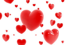 Red hearts flying Stock Images