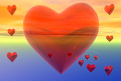 Flying Hearts Sunset Design Royalty Free Stock Photography