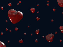 Red hearts flying glass on Valentine's Day Stock Photography