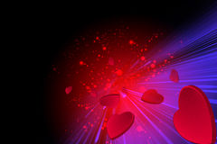 Red hearts flying on a red valentine background Stock Photos