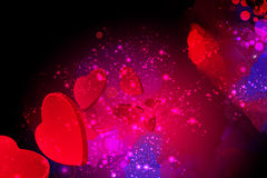 Red hearts flying on a red valentine background Stock Image