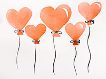 Red hearts in the form of balloons Royalty Free Stock Images