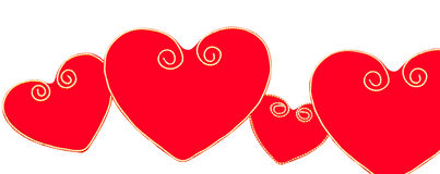 Red hearts. Four red hearts in the line symbol of Zagreb city, Croatia Stock Image
