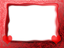 Red Hearts Frame. Elegant Tender Romantic Frame with Red Hearts, Lacy Borders and Blank White Background Royalty Free Stock Photos