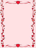 Red hearts frame. Pink background with ornament frame made of hearts Stock Images
