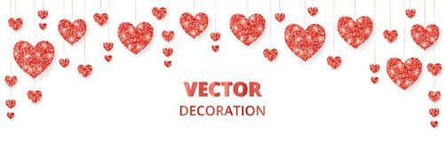 Red hearts frame, border. Vector glitter isolated on white. For decoration of Valentine and Mothers day cards, wedding. Red hearts frame, border. Vector glitter Stock Image