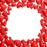 Red hearts. Frame of red hearts - 3d render Royalty Free Stock Photography