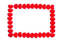 Red hearts frame on white background Stock Image