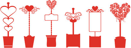 Red hearts garden topiaries. Vector traditional heart love topiary memo board signs Stock Image
