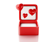Red hearts in a gift box. love concept. 3d illustration Royalty Free Stock Photo