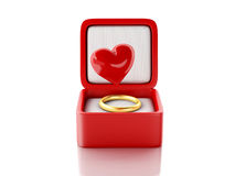 Red hearts in a gift box. love concept. 3d illustration Stock Image