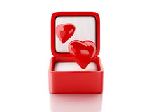 Red hearts in a gift box. love concept. 3d illustration Stock Photo