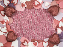 Red Hearts with Glitter Background Royalty Free Stock Photography