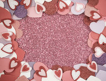 Red Hearts with Glitter Background Royalty Free Stock Images