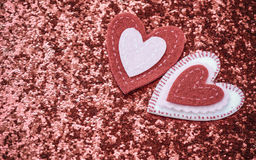 Red Hearts with Glitter Background Stock Photo