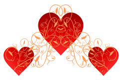 Red Hearts with Gold Flourish. Illustration of red hearts with intricate gold flourish Royalty Free Stock Photos