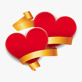 Red hearts with gold ribbons. Vector illustration. Royalty Free Stock Images