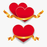 Red hearts with gold ribbons. Vector illustration. Stock Photo