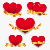 Red hearts with gold ribbons. Vector illustration. Royalty Free Stock Photography