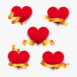 Red hearts with gold ribbons. Vector illustration. Royalty Free Stock Image