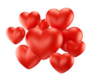 Red hearts group Stock Images