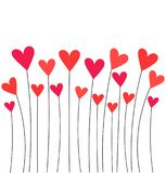 Hearts on stems. Red hearts growing on stems. Valentine`s day card Stock Photography