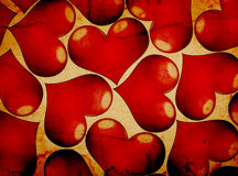 Red hearts on a grunge Stock Image