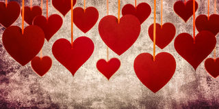 Red hearts on the grunge background Stock Photography