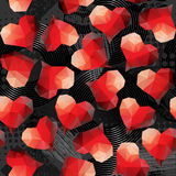 Red hearts on grunge black background. Stock Photos