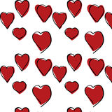 Red Hearts hand drawn pattern. Abstract design for fabrics, clothes Stock Images