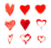 Red hearts hand-drawn Royalty Free Stock Photo