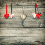 Red hearts hanging on clothesline. Valentines Day Stock Image