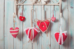 Red hearts hanging Stock Photos