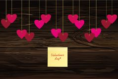 Red hearts  hanging on a ribbon. Yellow sheet of paper for notes. Sticker. Valentine`s Day. Vector illustration. Greeting card with empty space for your label Royalty Free Stock Photos