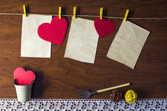 Red hearts hanging on the rope. Beautiful background for Valentine's day royalty free stock photo